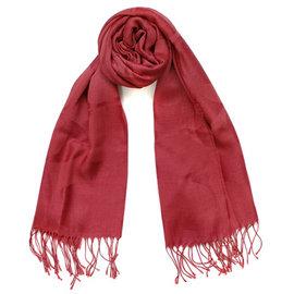 COACH 77767 磚紅色羊毛蠶絲車C Logo流蘇長圍巾^(195x53^)
