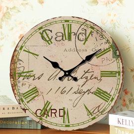 zakka雜貨 Vintage鄉村風 歐式藝術草寫英文字體圖案 異國風羅馬數字時鐘 掛鐘