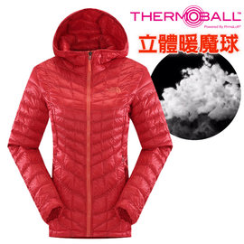 【美國 The North Face】女新款 PrimaLoft ThermoBall 超輕量暖魔球保暖連帽外套(可機洗).兜帽夾克.大衣/媲美羽絨科技/CUD4 瓜紅 V