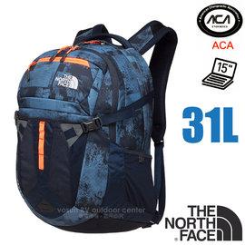 【美國 The North Face】新款 RECON 抗撕裂多功能後背包31L(YKK拉鍊+求生哨_電腦書包_可容15吋筆電_美國脊椎協會認證) CLG4 藍灰印花 V