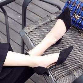 百搭涼鞋女絨面高跟鞋細跟尖頭鞋大碼包頭女鞋 3C 科技館