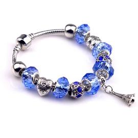 潘朵拉風格 漫步巴黎鐵塔藍鑽925純銀串珠 手鍊