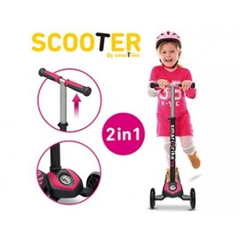 【紫貝殼】『CIB13-2』【英國 smarTrike - scooter】時尚 2 in 1 初進階三輪滑板車-粉紅 原廠公司貨