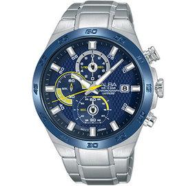 ALBA雅柏 劉以豪代言 玩轉新世代 三眼計時腕錶 藍寶石水晶 男錶 藍 AM3339X1