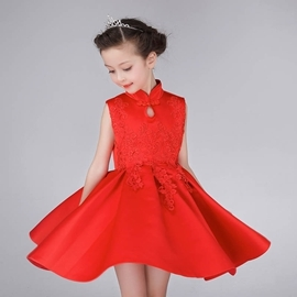 女童禮服純色旗袍禮服公主裙子女童連衣裙 棉質中大童演出服 潮衣部落格