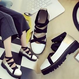娃娃鞋 16VIVI雜志同款復古大頭皮鞋鬆糕厚底女休閒交叉綁帶顯瘦娃娃單鞋 3C 科技館