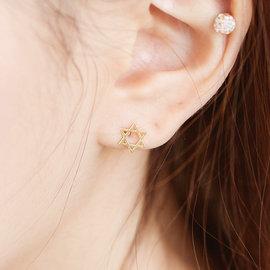 日韓簡約 S925 925 純銀 六芒星 抗過敏 耳針 耳環 耳釘 女 百搭 飾品  韓國