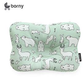 韓國【 Borny 】 3D透氣蜂巢塑型嬰兒枕(0~6個月適用) (綠熊鹿)