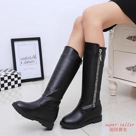 長靴 側拉鏈高筒過膝長靴平底圓頭平跟長筒靴 浪漫衣櫥