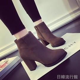 2016 磨砂絨面粗跟短靴及裸靴女低跟側拉鏈短筒高跟女靴潮 日韓優品旗艦店