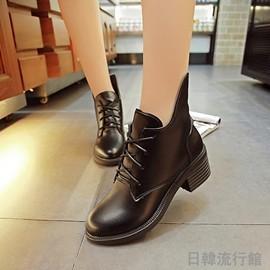 女靴 馬丁靴女英倫風短靴女春秋單靴粗跟皮靴子短筒及裸靴 型男原創館