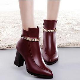 短靴女秋 韓潮尖頭粗跟高跟鞋裸靴金屬馬丁靴短筒靴女鞋 3C 館