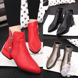 短靴秋 平底女士短靴低跟尖頭 側拉鏈馬丁靴機車靴女鞋子 3C 館