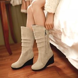 靴子 高跟靴子中筒靴坡跟甜美 3C 館