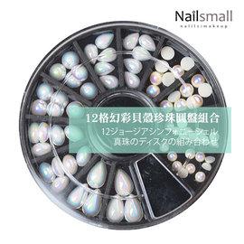 幻彩貝殼珍珠 ^#48 圓盤組~Nails Mall指甲彩繪~美甲飾品 12格