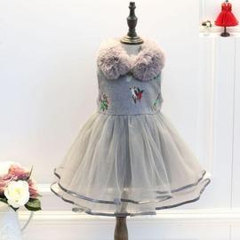 I BABY  女童 兒童 加絨 加厚 毛領 盤扣 花鳥刺繡 毛呢拼接紗裙 連衣裙 背心裙