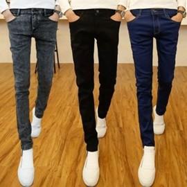青少年牛仔褲男士修身彈力小腳褲休閒直筒長褲子潮 薄款鉛筆褲 日韓優品旗艦店