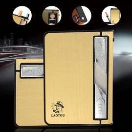 電子點煙器自動彈煙香菸盒 USB充電帶燈打火機10支裝煙盒金屬 locn 日韓優品旗艦店