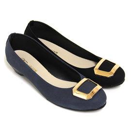 典雅幾何金屬低跟包鞋