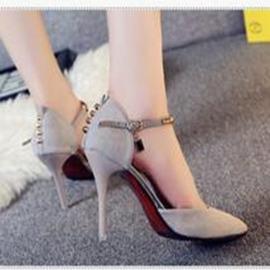 24H 發貨  一字扣帶涼鞋尖頭細跟性感高跟鞋中跟包頭淺口女鞋子12~23