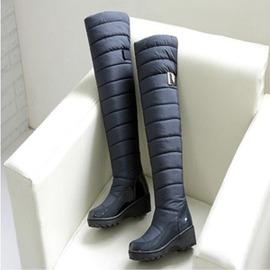 24H 發貨  加厚絨高筒靴子坡跟棉鞋防滑羽絨靴12~8