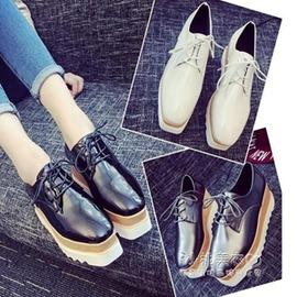 24H 發貨  鬆糕厚底方頭小皮鞋內增高女鞋休閒鞋坡跟女單鞋12~15