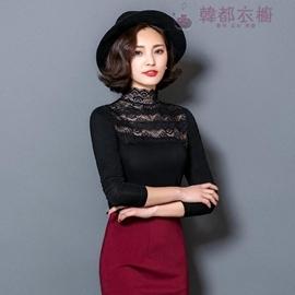 2016春  蕾絲女裝黑色長袖立領T恤顯瘦上衣收腰打底衫 型男株式會社