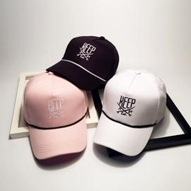 帽子女夏天 棒球帽女刺繡可愛粉色鴨舌帽彎檐嘻哈帽遮陽學生帽 型男部落