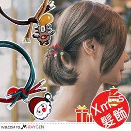 聖誕老人卡通麋鹿雪人鈴鐺圖案髮飾 髮圈【HH婦幼館】