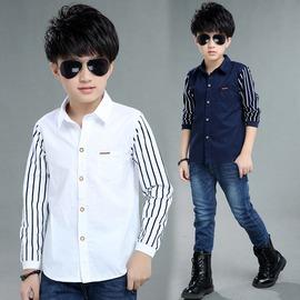 白色120cm^(120碼~110cm左右~^) 2016男童  兒童長袖襯衫中大童針織條