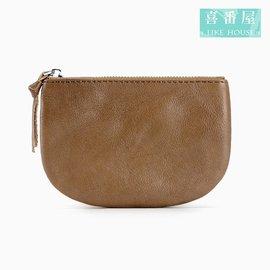 ~喜番屋~真皮頭層牛皮0.5CM輕薄簡約女士皮夾皮包錢夾零錢包卡片夾卡片包收納包女包女夾L