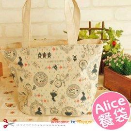 日系棉麻 愛麗絲童話女孩手提袋 購物袋 收納袋 學生便當袋 【HH婦幼館】