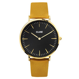 CLUSE荷蘭 手錶 波西米亞金色系列 黑錶盤 芥末黃皮革錶帶38mm