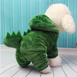 DP雜貨鋪 寵物變身裝 恐龍四腳變身絨衣 貓狗衣服 貴賓 博美 吉娃娃 雪納瑞