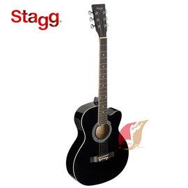 ~補給站樂器~比利時Stagg SA20A 41吋民謠木吉他 缺角EQ^(黑色^)