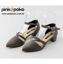 包鞋~PINKPOKO粉紅波可~ 交叉線條低跟瑪莉珍~3色#1007