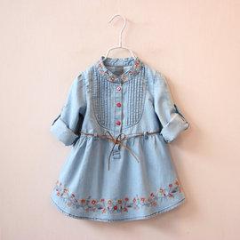 I BABY  女童兒童 春裝領口繡花 繫帶兩用袖子 牛仔連衣裙 裙衫長袖洋裝~QK002