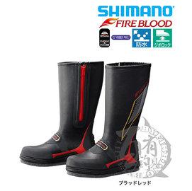 ◎百有釣具◎SHIMANO FB-155P FIRE BLOOD黑紅色長筒防滑鞋 3L 磯釣專用靴,靈活的柔軟度能因應磯釣地形展現優異的穩定感