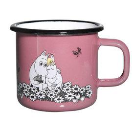~芬蘭Muurla~嚕嚕米系列~永遠在一起琺瑯馬克杯370cc 粉紅色 咖啡杯 琺瑯杯