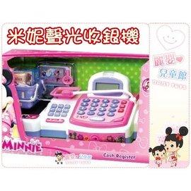 麗嬰兒童玩具館~扮家家酒-迪士尼正版-米妮蔬果收銀機-超市輸送帶聲光麥克風收銀機-可計算
