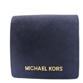 Michael Kors MK LOGO  素面款 防刮PVC牛皮皮革 短夾 皮夾 卡片夾