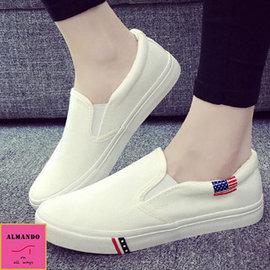 ALMANDO~SHOES ~美式休閒厚底平底鞋~帆布樂福鞋 ^(白色^)