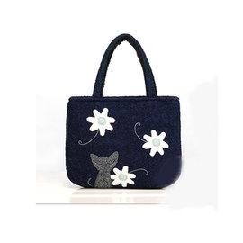 ~Ameber~可愛貓咪愛花花毛呢手提包