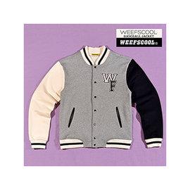 【WEEFSCOOL】MIT 潮流時尚刷毛棒球外套 Matching Color 男 (灰)