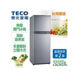 ~ ~A0261~東元TECO~小鮮綠系列223L定頻二門冰箱  珍珠銀 R2202S