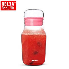 【香港RELEA物生物】320ml艾呆呆耐熱玻璃密封水杯附杯套(玫瑰粉)