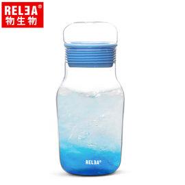 【香港RELEA物生物】320ml艾呆呆耐熱玻璃密封水杯附杯套(夢幻藍)