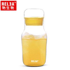 【香港RELEA物生物】320ml艾呆呆耐熱玻璃密封水杯附杯套(芒果黃)