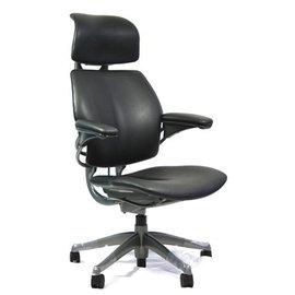 ~瘋椅世界~美國Freedom 黑色皮革 鈦色骨架 人體工學椅 111 椅 網椅 電腦椅