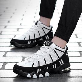黑色35新款內增厚底高幫運動鞋休閑增高休閑黑白籃球鞋大碼鞋男女氣墊鞋